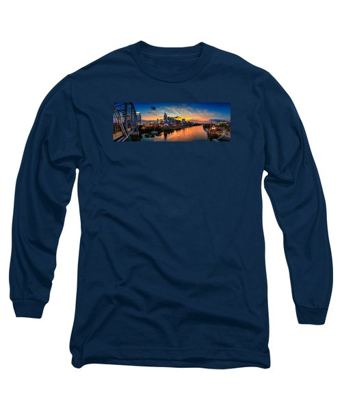 Nashville Skyline Panorama Long Sleeve T-Shirt by Brett Engle