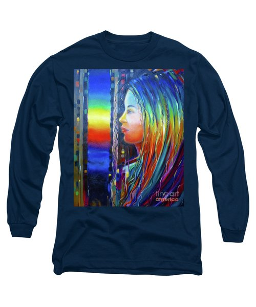 Long Sleeve T-Shirt featuring the painting Rainbow Girl 241008 by Selena Boron