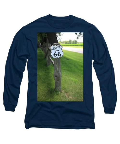 Long Sleeve T-Shirt featuring the photograph Route 66 Shield And Fence Post by Frank Romeo
