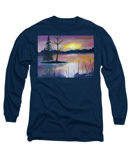 Long Sleeve T-Shirt featuring the painting Stormy Sunset by Jack G Brauer