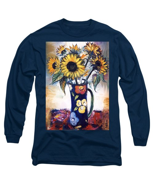 Long Sleeve T-Shirt featuring the painting Sunflowers by Mikhail Zarovny