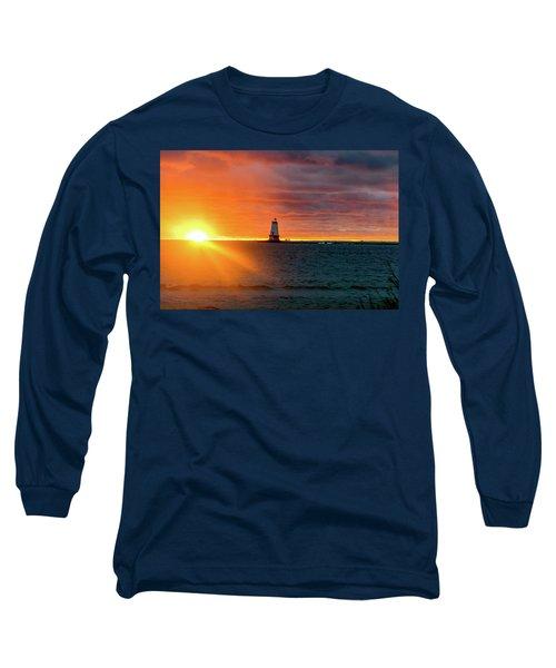 Sunset And Lighthouse Long Sleeve T-Shirt