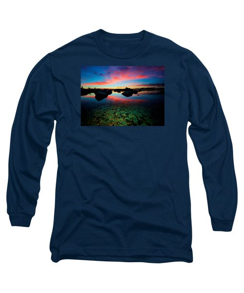 Sunset With A Whale Long Sleeve T-Shirt by Sean Sarsfield