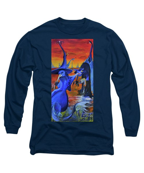 Long Sleeve T-Shirt featuring the painting The Cat And The Witch by Christophe Ennis