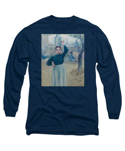 The Little Village Girl With Red Carnation Long Sleeve T-Shirt by Adolfo Guiard