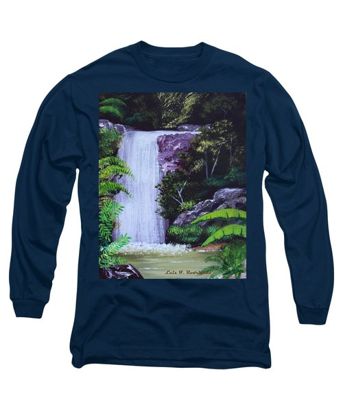 Tropical Waterfall Long Sleeve T-Shirt by Luis F Rodriguez