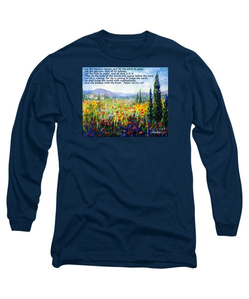 Long Sleeve T-Shirt featuring the painting Tuscany Fields With Scripture by Lou Ann Bagnall