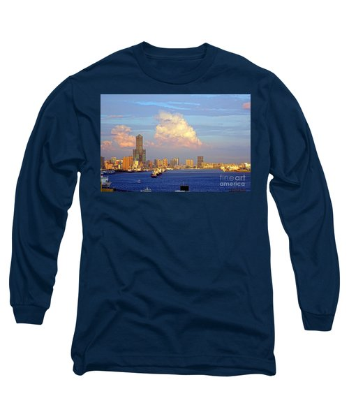 View Of Kaohsiung City At Sunset Time Long Sleeve T-Shirt by Yali Shi