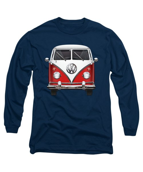 Volkswagen Type 2 - Red And White Volkswagen T 1 Samba Bus Over Green Canvas  Long Sleeve T-Shirt by Serge Averbukh