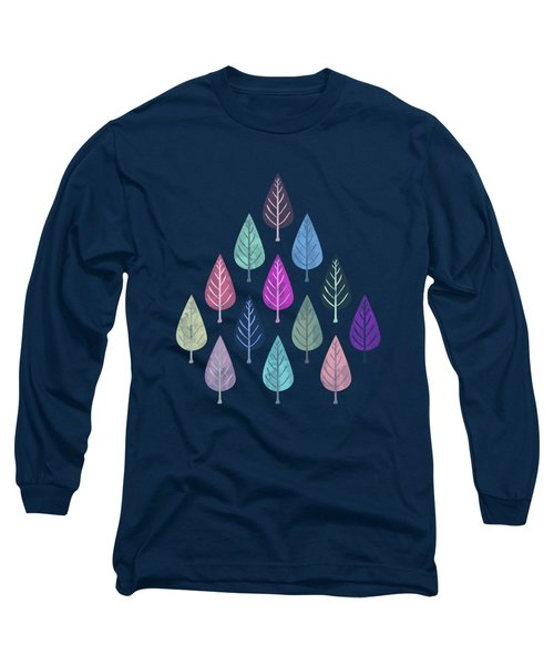 Watercolor Forest Pattern IIi Long Sleeve T-Shirt