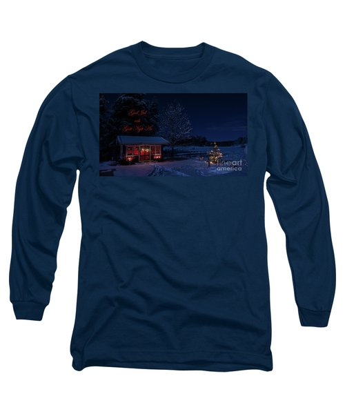 Long Sleeve T-Shirt featuring the photograph Winter Night Greetings In Swedish by Torbjorn Swenelius