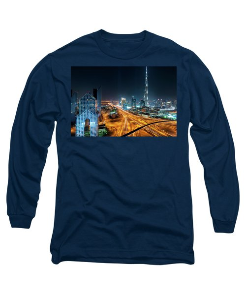Amazing Night Dubai Downtown Skyline, Dubai, United Arab Emirates Long Sleeve T-Shirt