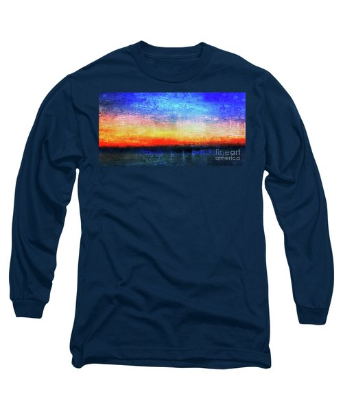 15a Abstract Seascape Sunrise Painting Digital Long Sleeve T-Shirt