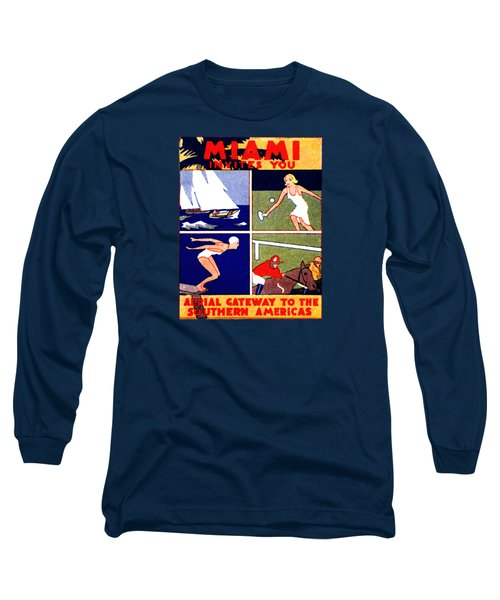 1925 Miami Travel Poster Long Sleeve T-Shirt by Historic Image