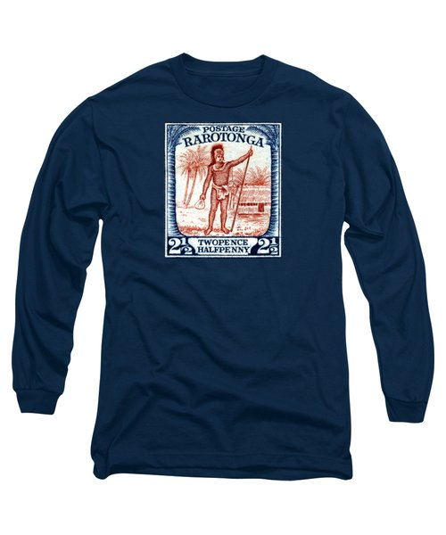 Long Sleeve T-Shirt featuring the painting 1927 Cook Island Rarotongan Chief Stamp by Historic Image