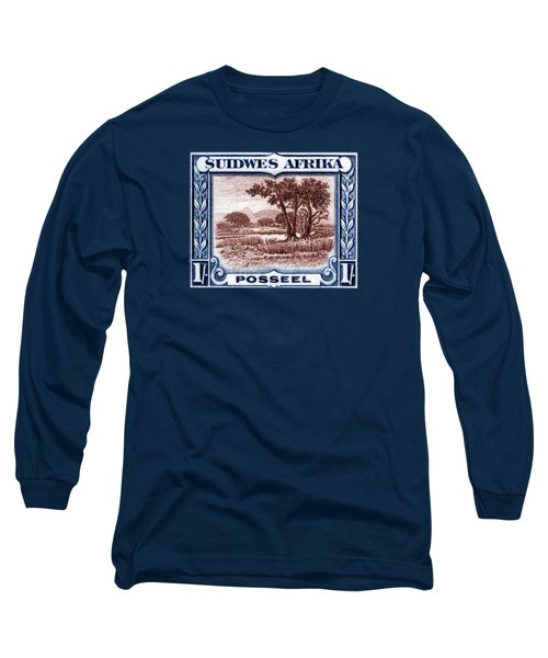 Long Sleeve T-Shirt featuring the painting 1931 South West African Landscape Stamp by Historic Image