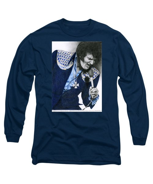 1975 Dark Blue Two Piece Suit Blue Gold Ornaments Long Sleeve T-Shirt