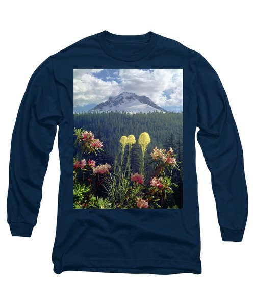 1m5101 Flowers And Mt. Hood Long Sleeve T-Shirt