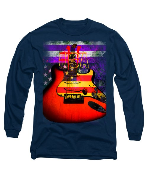 Long Sleeve T-Shirt featuring the photograph Red Usa Flag Guitar  by Guitar Wacky