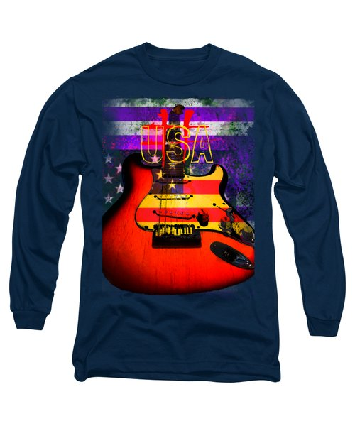 Red Usa Flag Guitar  Long Sleeve T-Shirt