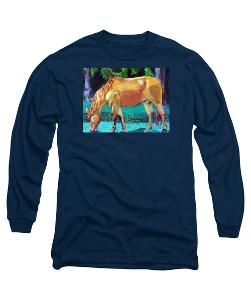 2009081315 Grazing Horse Long Sleeve T-Shirt by Garland Oldham