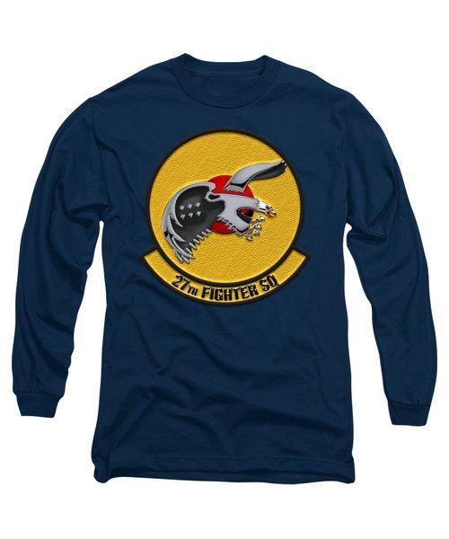 27th Fighter Squadron - 27 Fs Over Blue Velvet Long Sleeve T-Shirt by Serge Averbukh