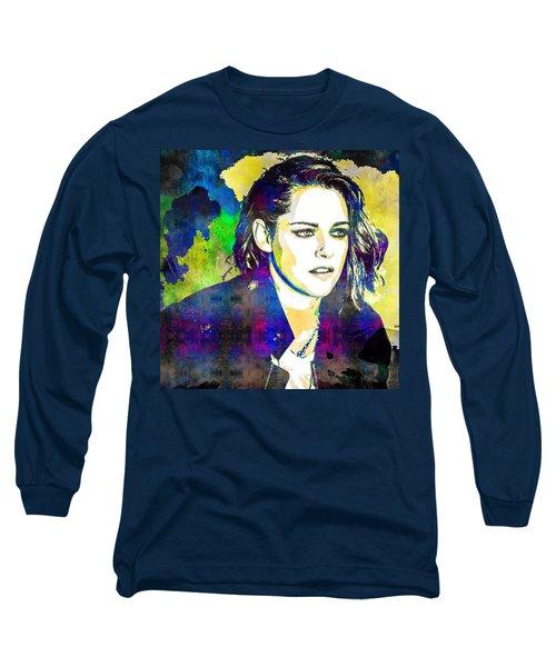 Long Sleeve T-Shirt featuring the mixed media Kristen Stewart by Svelby Art