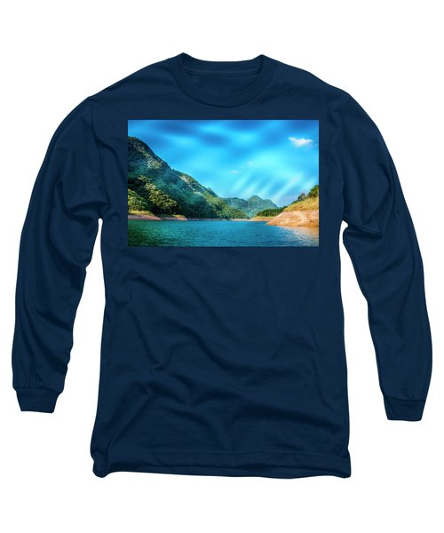 The Mountains And Reservoir Scenery With Blue Sky Long Sleeve T-Shirt