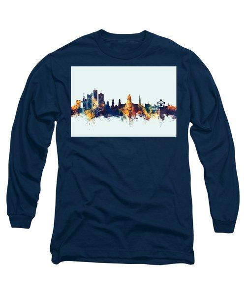 Long Sleeve T-Shirt featuring the digital art Brussels Belgium Skyline by Michael Tompsett