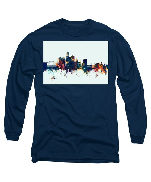 Des Moines Iowa Skyline Long Sleeve T-Shirt
