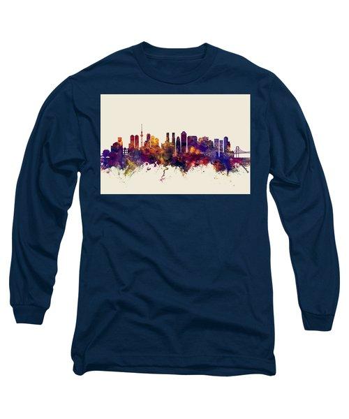 Tokyo Japan Skyline Long Sleeve T-Shirt by Michael Tompsett
