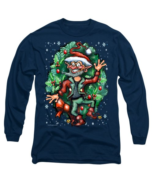 Christmas Elf Long Sleeve T-Shirt by Kevin Middleton