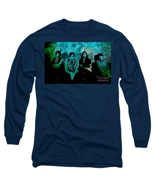 Long Sleeve T-Shirt featuring the mixed media Kings Of Leon by Marvin Blaine