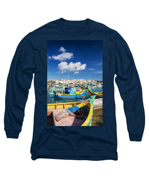 Marsaxlokk Harbour And Traditional Mediterranean Fishing Boats I Long Sleeve T-Shirt
