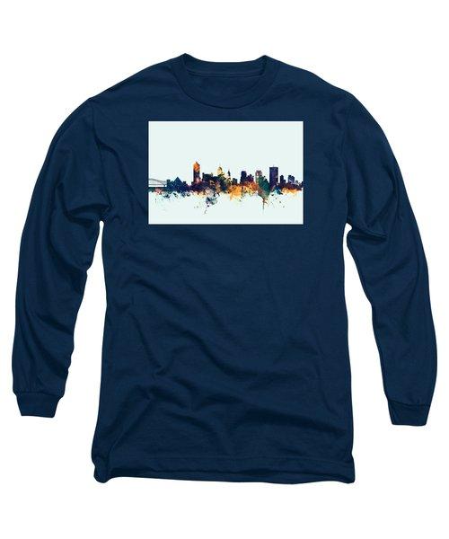 Memphis Tennessee Skyline Long Sleeve T-Shirt by Michael Tompsett