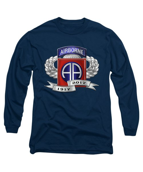 82nd Airborne Division 100th Anniversary Insignia Over Blue Velvet Long Sleeve T-Shirt