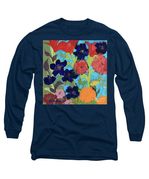 Long Sleeve T-Shirt featuring the painting A Dandelion Weed Making It's Way In The Garden by Robin Maria Pedrero
