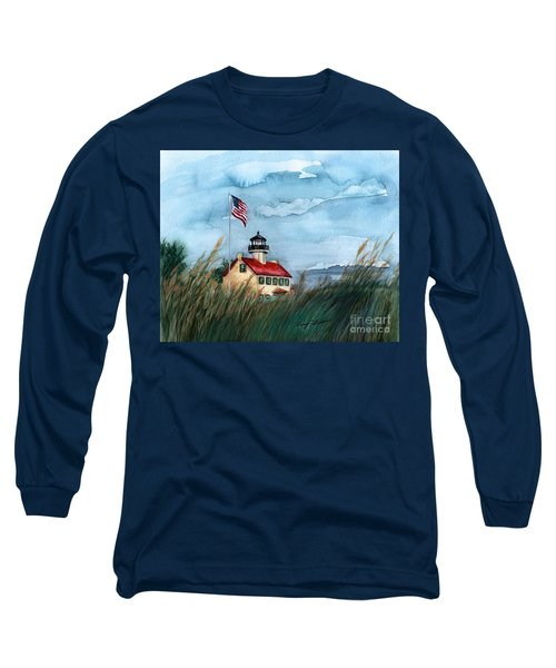 Long Sleeve T-Shirt featuring the painting A New Day At East Point Lighthouse by Nancy Patterson