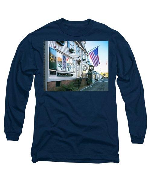 Long Sleeve T-Shirt featuring the photograph A Newport Wharf by Nancy De Flon
