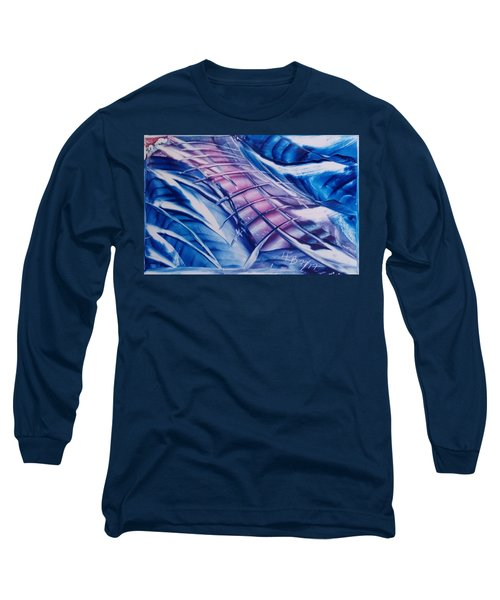 Abstract Blue With Pink Centre Long Sleeve T-Shirt