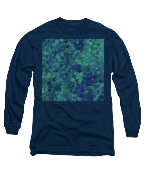 Long Sleeve T-Shirt featuring the mixed media Abstract Blues 1 by Clare Bambers