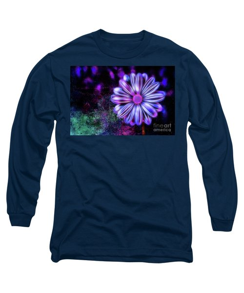 Abstract Glowing Purple And Blue Flower Long Sleeve T-Shirt