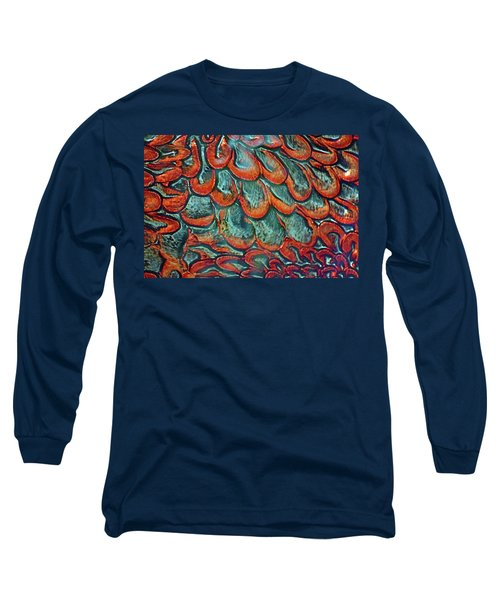 Abstract In Copper And Blue No. 7-1 Long Sleeve T-Shirt