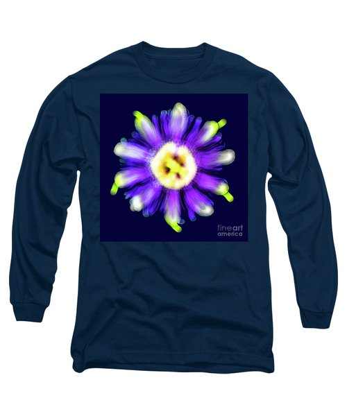 Abstract Passion Flower In Violet Blue And Green 002b Long Sleeve T-Shirt
