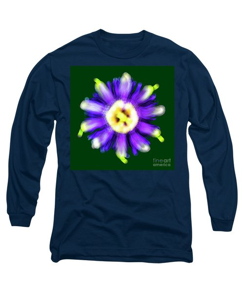 Abstract Passion Flower In Violet Blue And Green 002g Long Sleeve T-Shirt