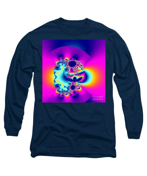 Abstract Pink And Turquoise Fractal Globe Long Sleeve T-Shirt