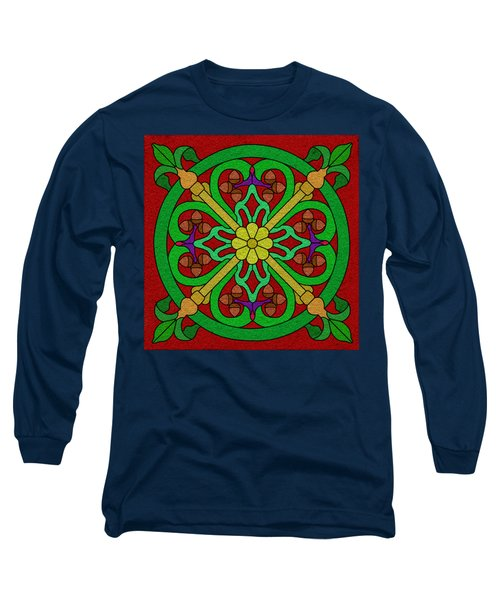Acorns On Red 2 Long Sleeve T-Shirt by Curtis Koontz