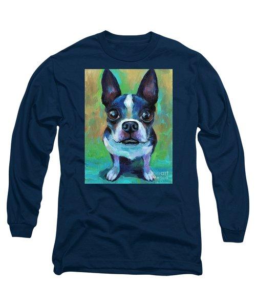 Adorable Boston Terrier Dog Long Sleeve T-Shirt by Svetlana Novikova