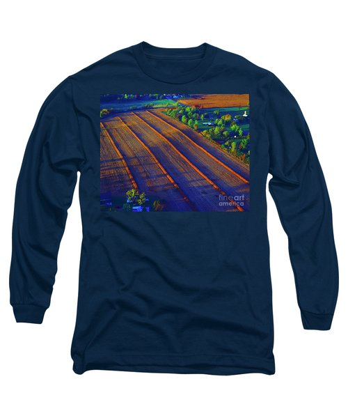 Aerial Farm Field Harvested At Sunset Long Sleeve T-Shirt by Tom Jelen