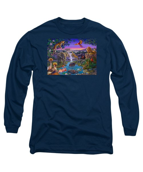 African Animals At The Water Hole Long Sleeve T-Shirt